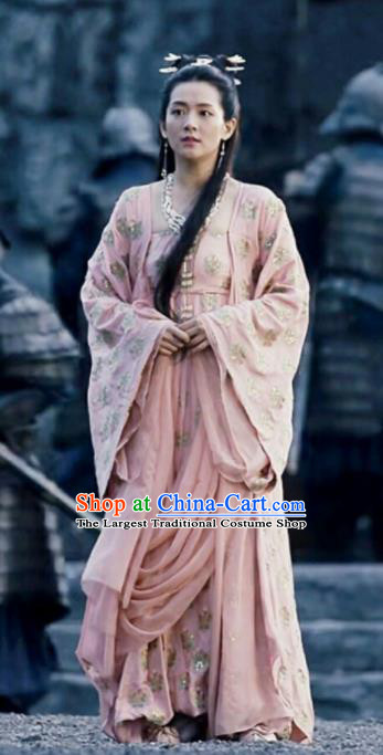 Chinese Ancient Princess of Yin Empire Bai Zhou Pink Hanfu Dress Drama Novoland Eagle Flag Replica Costumes for Women