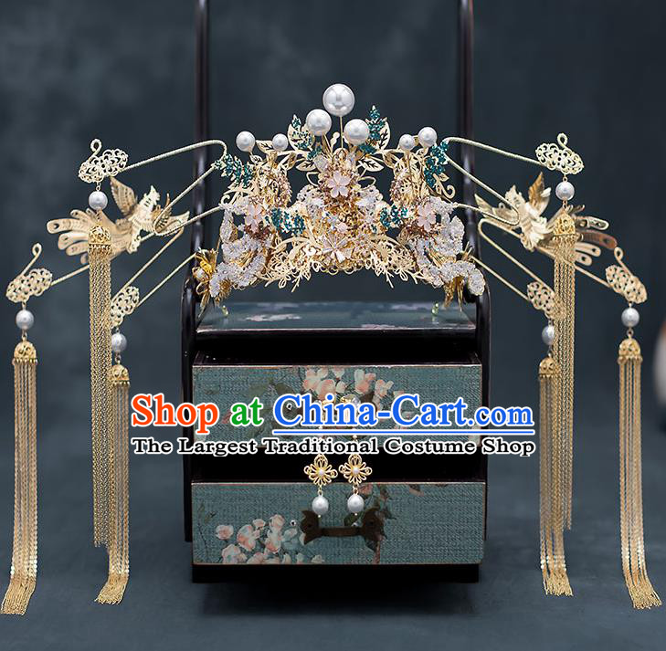 Chinese Traditional Bride Phoenix Coronet Handmade Hairpins Wedding Hair Accessories Complete Set for Women