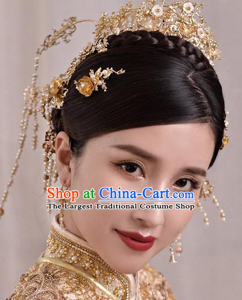 Chinese Traditional Bride Golden Phoenix Coronet Handmade Hairpins Wedding Hair Accessories Complete Set for Women
