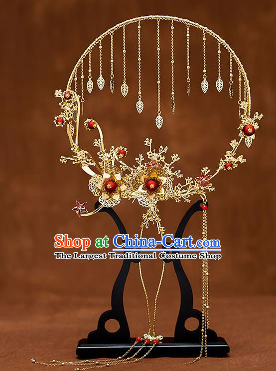 Chinese Traditional Wedding Golden Plum Palace Fans Ancient Bride Prop Round Fan for Women