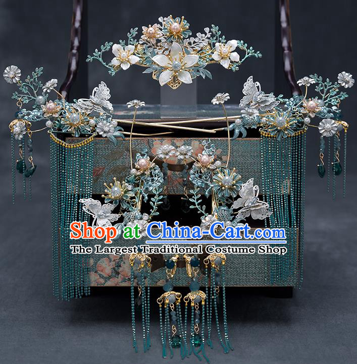 Top Chinese Traditional Wedding Blue Flower Hair Comb Bride Handmade Tassel Hairpins Hair Accessories Complete Set