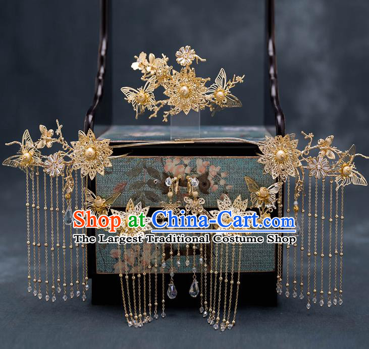 Top Chinese Traditional Wedding Golden Butterfly Hair Comb Bride Handmade Tassel Hairpins Hair Accessories Complete Set