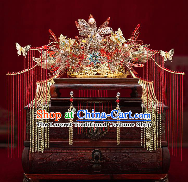 Top Chinese Traditional Wedding Golden Dragonfly Phoenix Coronet Bride Handmade Tassel Hairpins Hair Accessories Complete Set