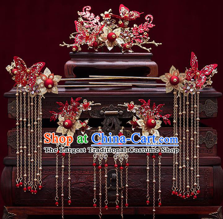 Top Chinese Traditional Wedding Red Butterfly Hair Comb Bride Handmade Tassel Hairpins Hair Accessories Complete Set