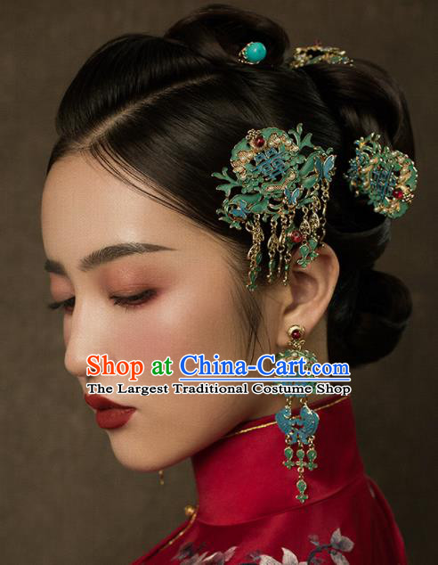 Top Chinese Traditional Wedding Blue Hair Combs Bride Handmade Tassel Hairpins Hair Accessories Complete Set