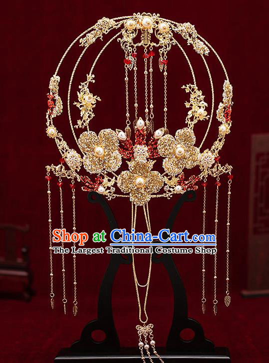 Chinese Traditional Wedding Golden Crystal Flower Palace Fans Ancient Bride Prop Round Fan for Women
