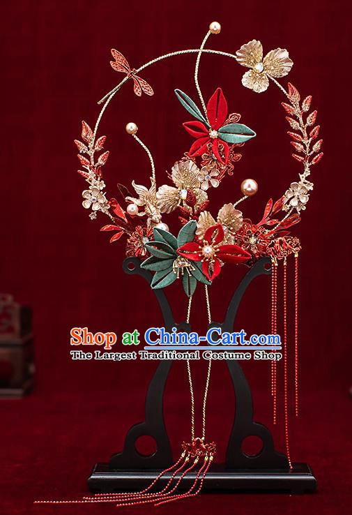 Chinese Traditional Wedding Red Tassel Palace Fans Ancient Bride Prop Round Fan for Women