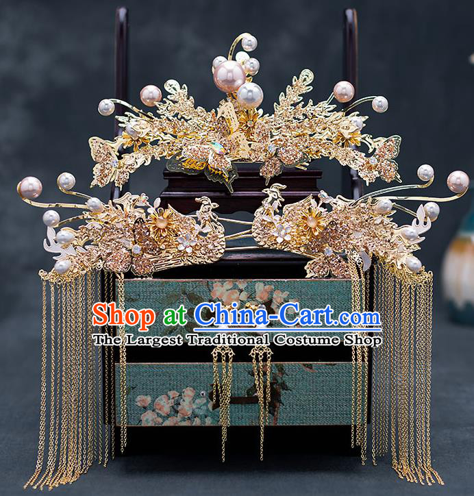 Top Chinese Traditional Wedding Golden Phoenix Hair Comb Bride Handmade Tassel Hairpins Hair Accessories Complete Set