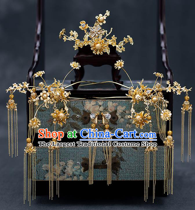 Top Chinese Traditional Wedding Golden Plum Hair Comb Bride Handmade Tassel Hairpins Hair Accessories Complete Set
