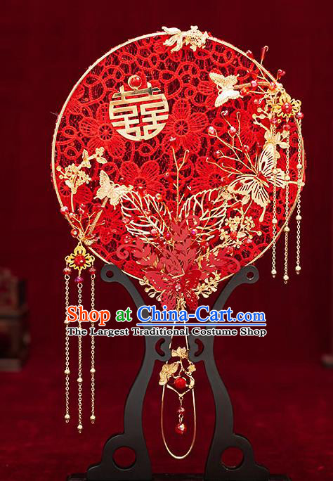 Chinese Traditional Wedding Red Lace Plum Palace Fans Ancient Bride Prop Round Fan for Women