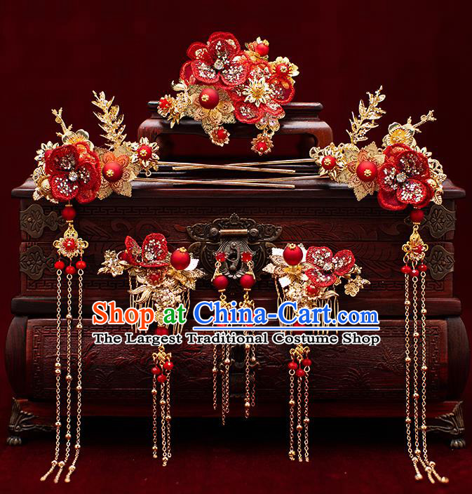 Top Chinese Traditional Wedding Red Flower Hair Combs Bride Handmade Hairpins Hair Accessories Complete Set