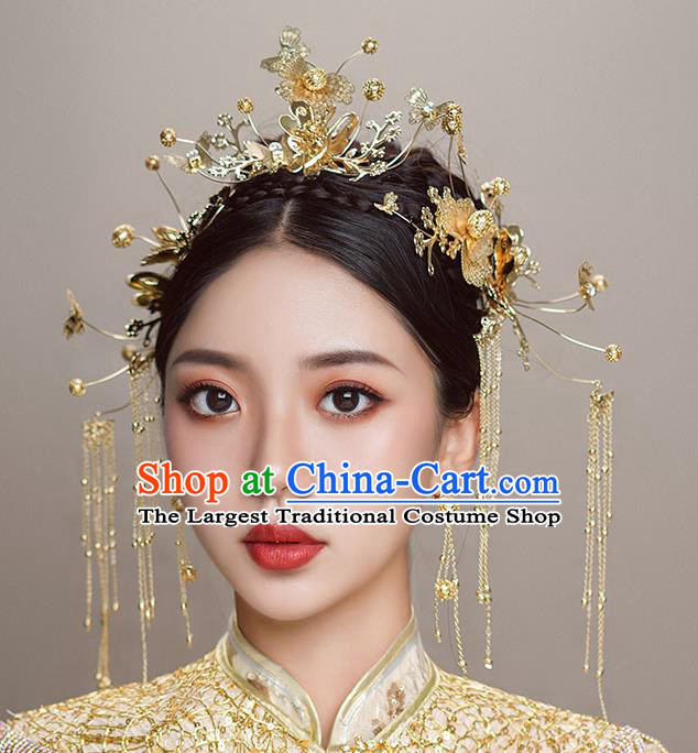 Top Chinese Traditional Wedding Tassel Hair Crown Bride Handmade Hairpins Hair Accessories Complete Set