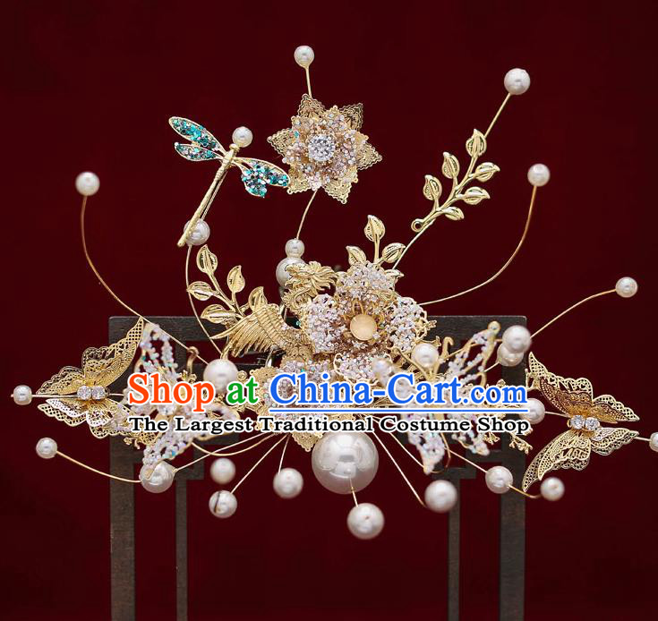 Top Chinese Traditional Wedding Butterfly Flowers Hair Comb Bride Handmade Hairpins Hair Accessories Complete Set