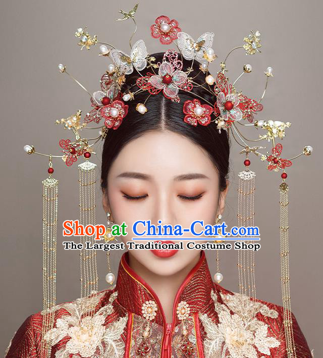 Top Chinese Traditional Wedding Butterfly Red Flowers Hair Clasp Bride Handmade Hairpins Hair Accessories Complete Set