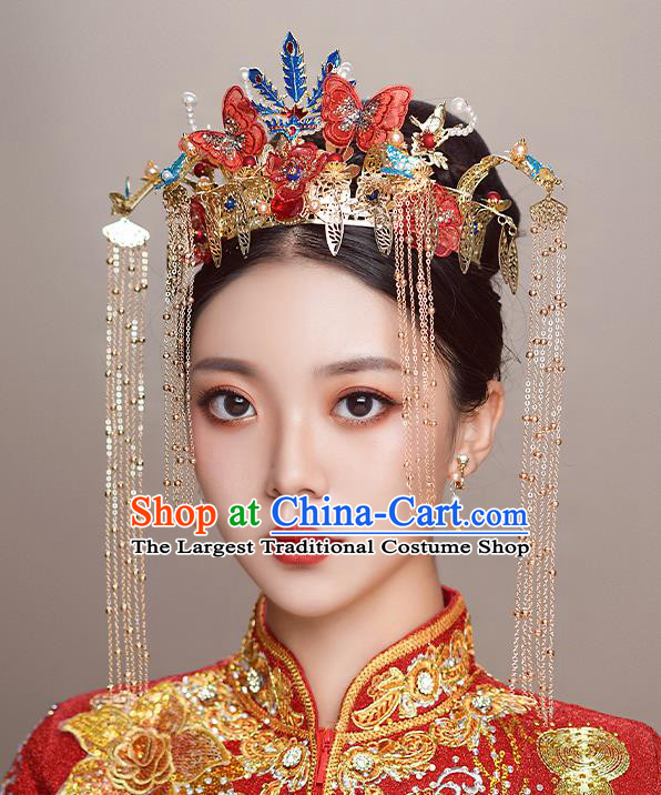 Top Chinese Traditional Wedding Red Butterfly Hair Crown Bride Handmade Hairpins Hair Accessories Complete Set