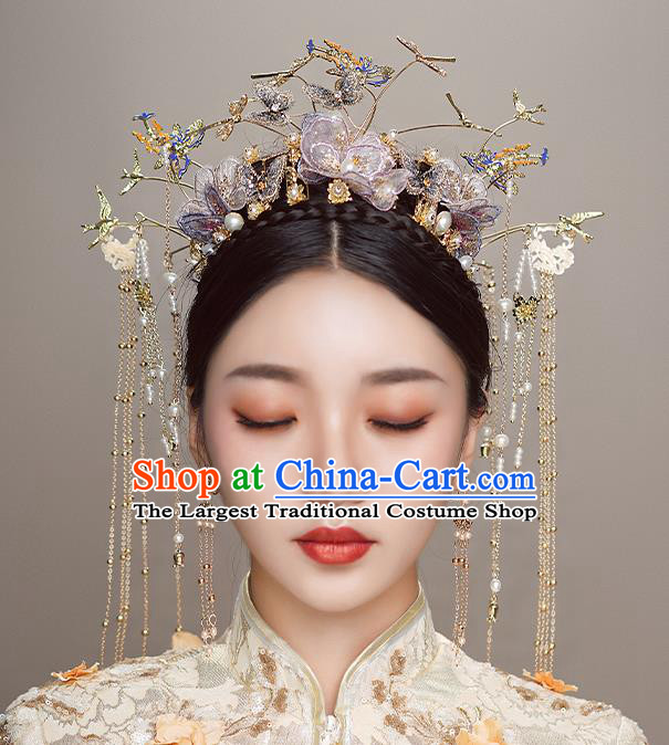 Top Chinese Traditional Wedding Lilac Flowers Hair Crown Bride Handmade Hairpins Hair Accessories Complete Set