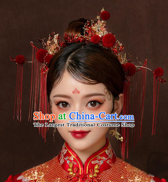 Top Chinese Traditional Wedding Hair Comb Bride Handmade Red Tassel Hairpins Hair Accessories Complete Set