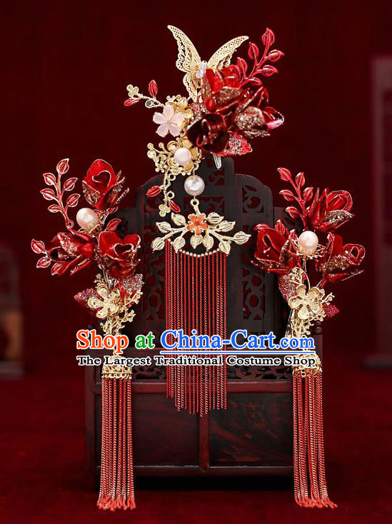 Top Chinese Traditional Wedding Red Tassel Hair Comb Bride Handmade Hairpins Hair Accessories Complete Set