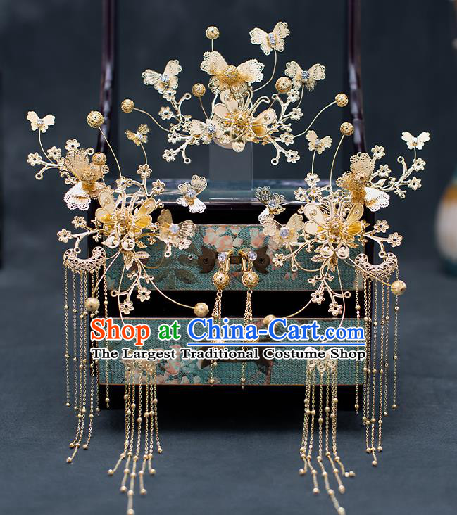 Top Chinese Traditional Wedding Hair Comb Bride Handmade Golden Butterfly Hairpins Hair Accessories Complete Set