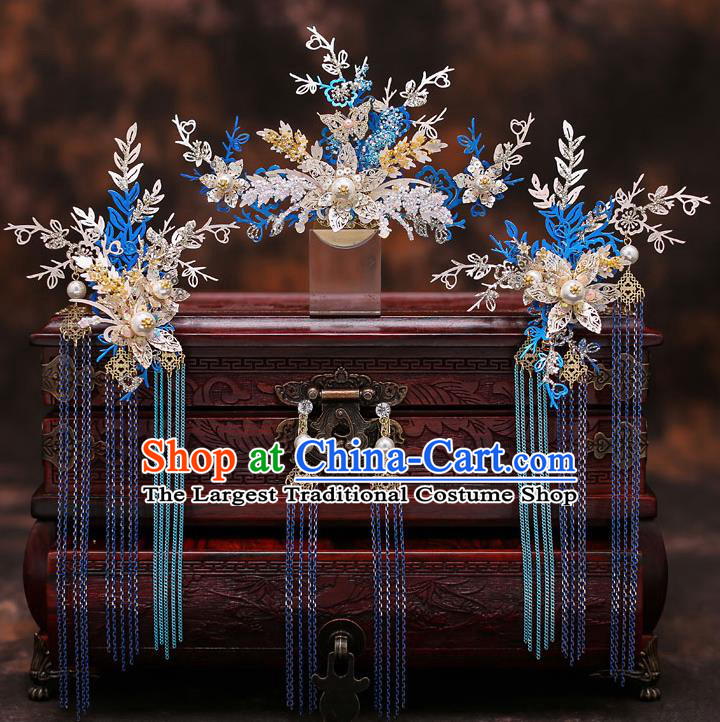 Top Chinese Traditional Wedding Blue Leaf Tassel Hair Comb Bride Handmade Hairpins Hair Accessories Complete Set
