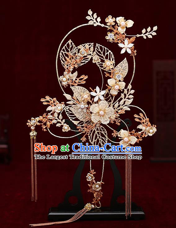 Chinese Traditional Wedding Golden Leaf Palace Fans Ancient Bride Prop Round Fan for Women