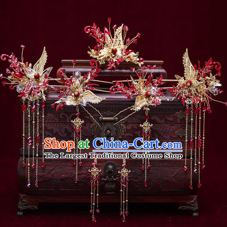 Top Chinese Traditional Wedding Golden Crane Hair Comb Bride Handmade Tassel Hairpins Hair Accessories Complete Set