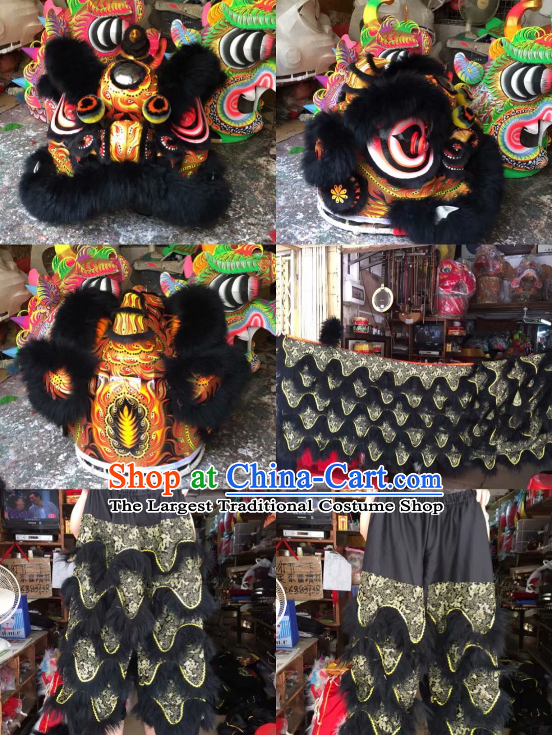 Traditional Chinese Southern Lion Dance Lion Dancing Costume Full Set