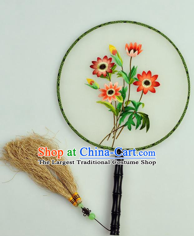 Chinese Traditional Embroidered Flowers Silk Fans Craft Handmade Su Embroidery Palace Fan Round Fan