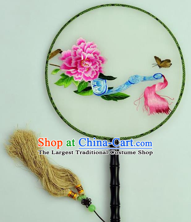 Chinese Traditional Embroidered Peony Silk Fans Craft Handmade Su Embroidery Palace Fan Round Fan