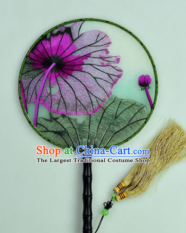 Chinese Traditional Embroidered Lotus Leaf Silk Fans Craft Handmade Su Embroidery Palace Fan Round Fan