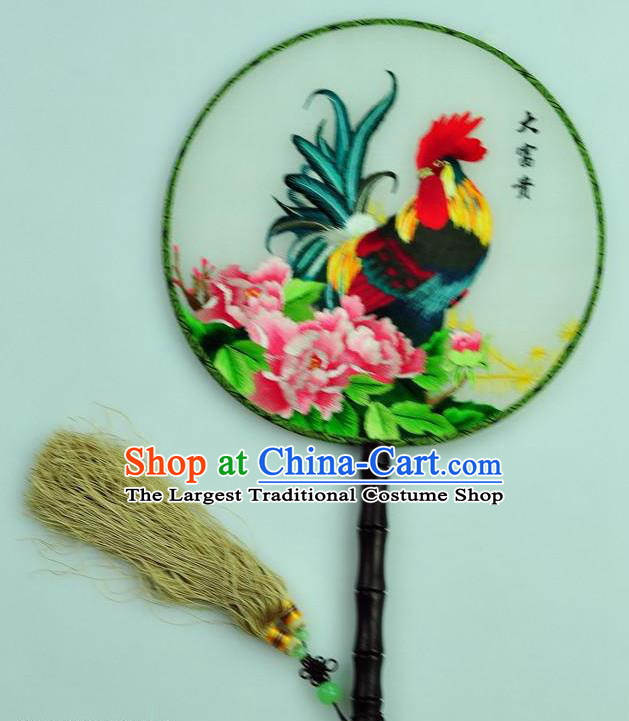 Chinese Traditional Embroidered Silk Fans Craft Handmade Su Embroidery Cock Peony Palace Fan Round Fan