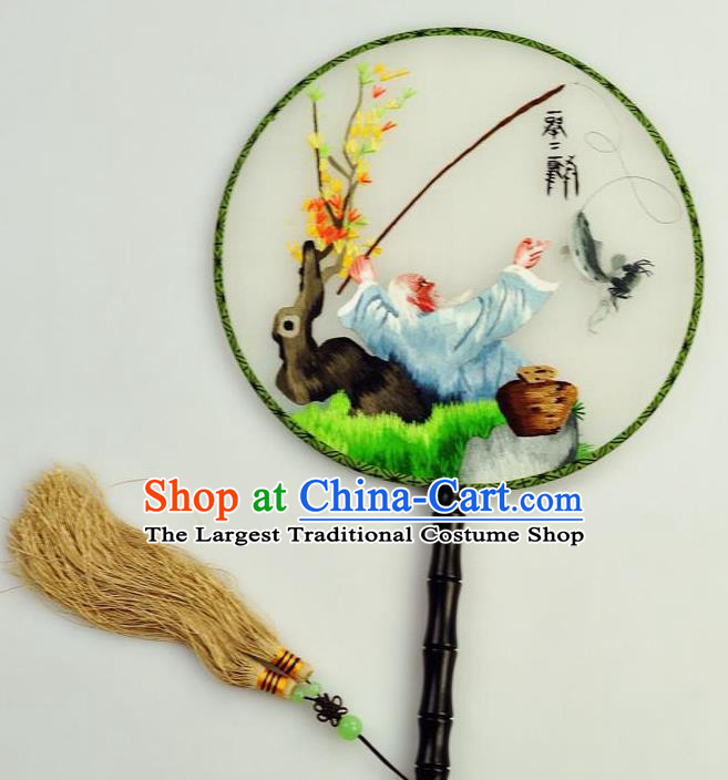 Chinese Traditional Embroidered Silk Fans Craft Handmade Su Embroidery Palace Fan Round Fan