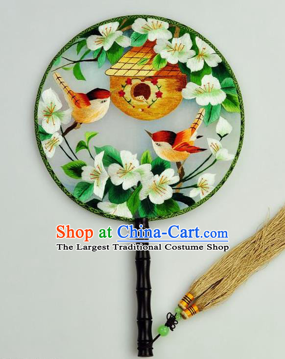 Chinese Traditional Embroidered Flowers Bird Silk Fans Craft Handmade Su Embroidery Palace Fan Round Fan