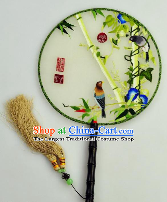 Chinese Traditional Embroidered Bamboo Silk Fans Craft Handmade Su Embroidery Petunia Birds Palace Fan Round Fan