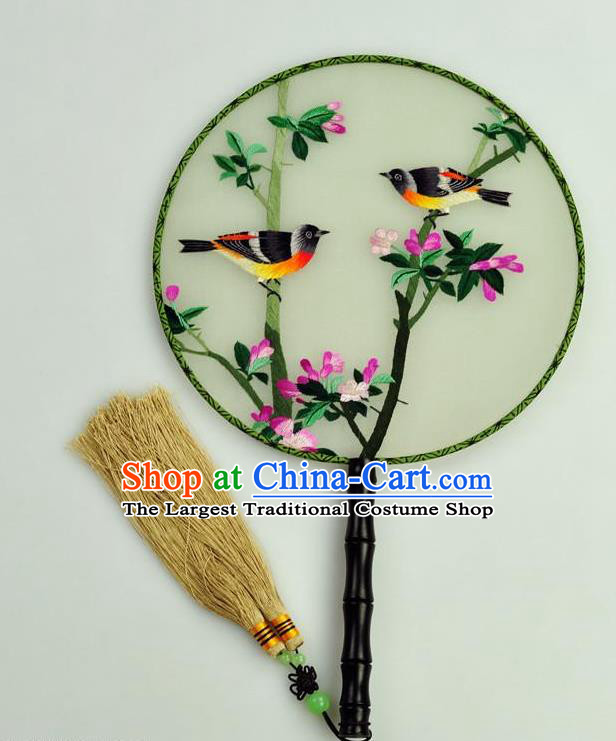 Chinese Traditional Embroidered Begonia Silk Fans Craft Handmade Su Embroidery Birds Palace Fan Round Fan