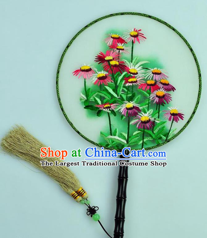 Chinese Traditional Embroidered Daisy Silk Fans Craft Handmade Su Embroidery Palace Fan Round Fan