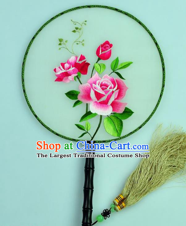 Chinese Traditional Embroidered Roses Silk Fans Craft Handmade Su Embroidery Palace Fan Round Fan