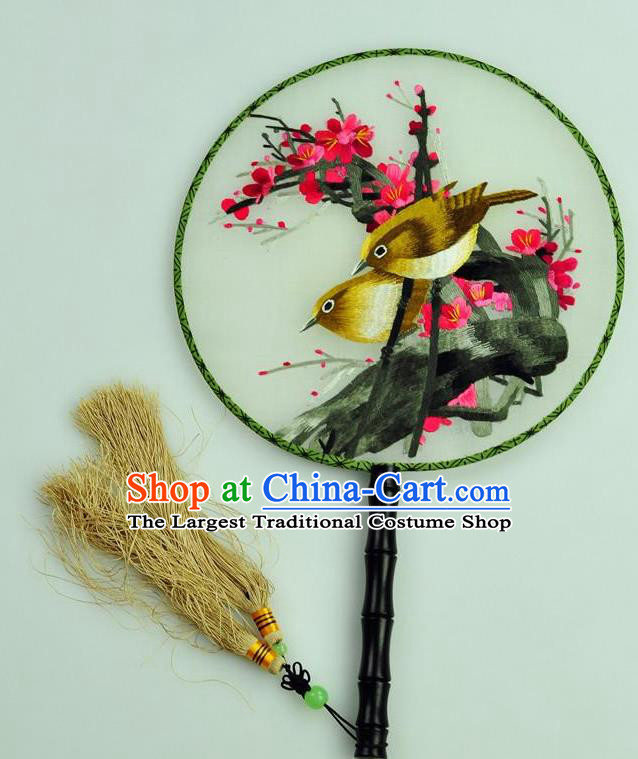 Chinese Traditional Embroidered Silk Fans Craft Handmade Su Embroidery Plum Birds Palace Fan Round Fan