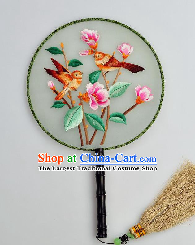 Chinese Traditional Embroidered Silk Fans Craft Handmade Su Embroidery Flowers Birds Palace Fan Round Fan