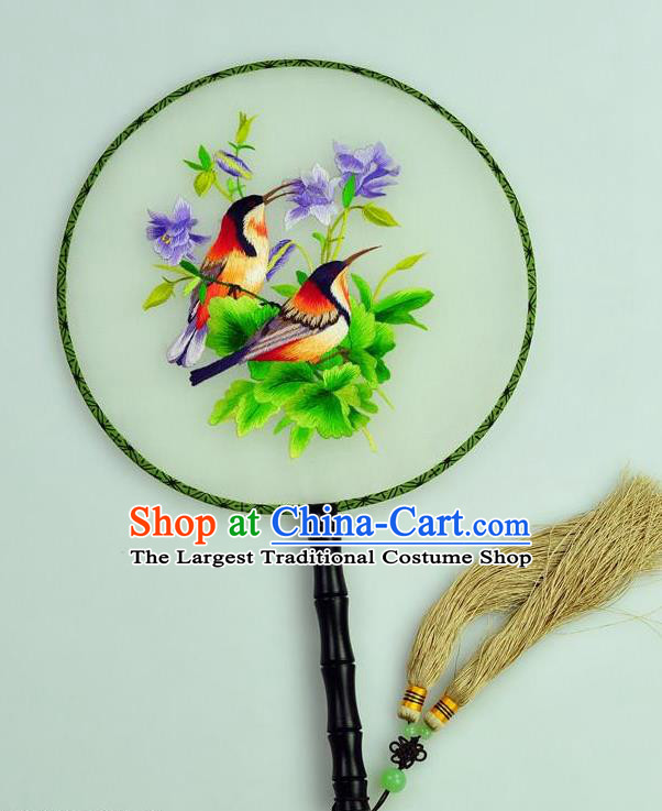 Chinese Traditional Embroidered Violet Silk Fans Craft Handmade Su Embroidery Flowers Birds Palace Fan Round Fan