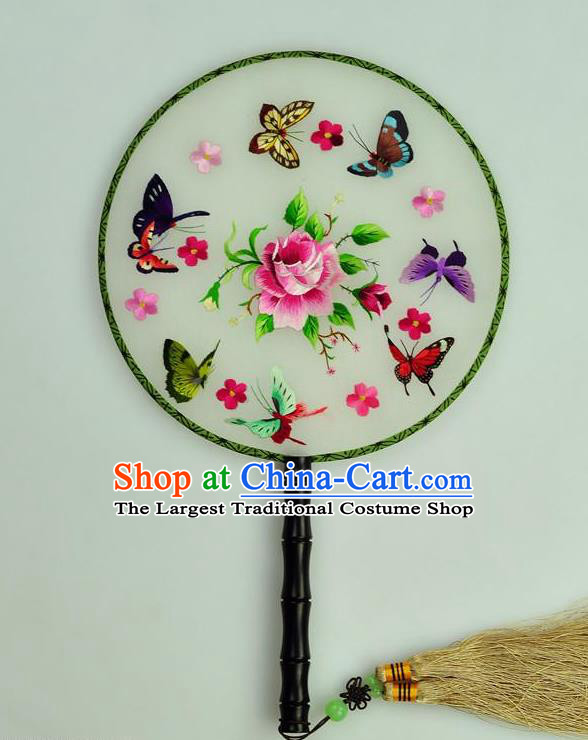 Chinese Traditional Embroidered Butterfly Silk Fans Craft Handmade Su Embroidery Rose Palace Fan Round Fan