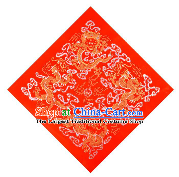 Traditional Chinese New Year Red Batik Paper Spring Festival Handmade Classical Dragons Pattern Couplet Paper Craft