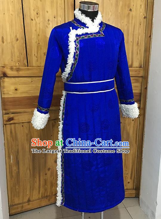 Chinese Mongolian Nationality Winter Garment Traditional Mongol Ethnic Minority Costume Royalblue Cotton Wadded Robe for Men