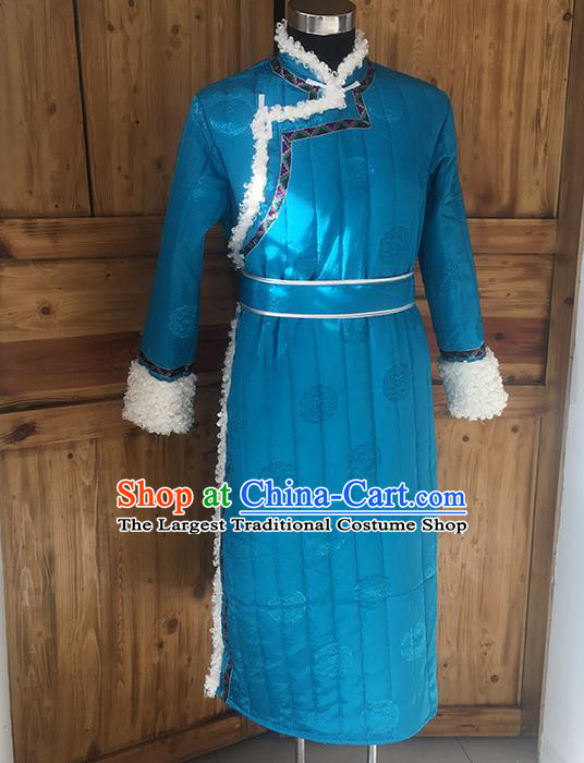 Chinese Mongolian Nationality Winter Garment Traditional Mongol Ethnic Minority Costume Blue Cotton Wadded Robe for Men
