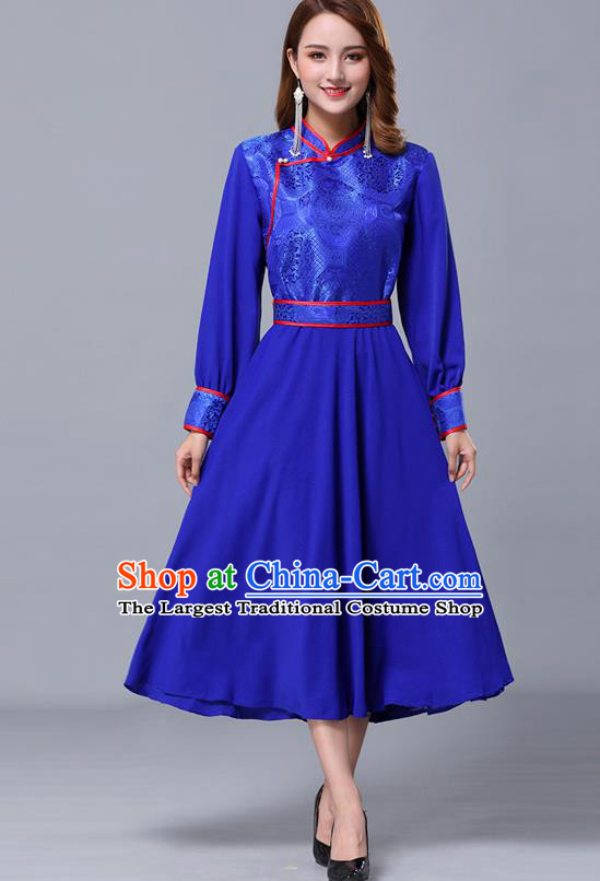 Chinese Traditional Mongolian Nationality Royalblue Dress Minority Garment Mongol Ethnic Stand Collar Costume for Women