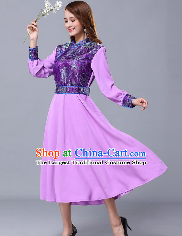 Chinese Traditional Mongolian Nationality Lilac Dress Minority Garment Mongol Ethnic Stand Collar Costume for Women