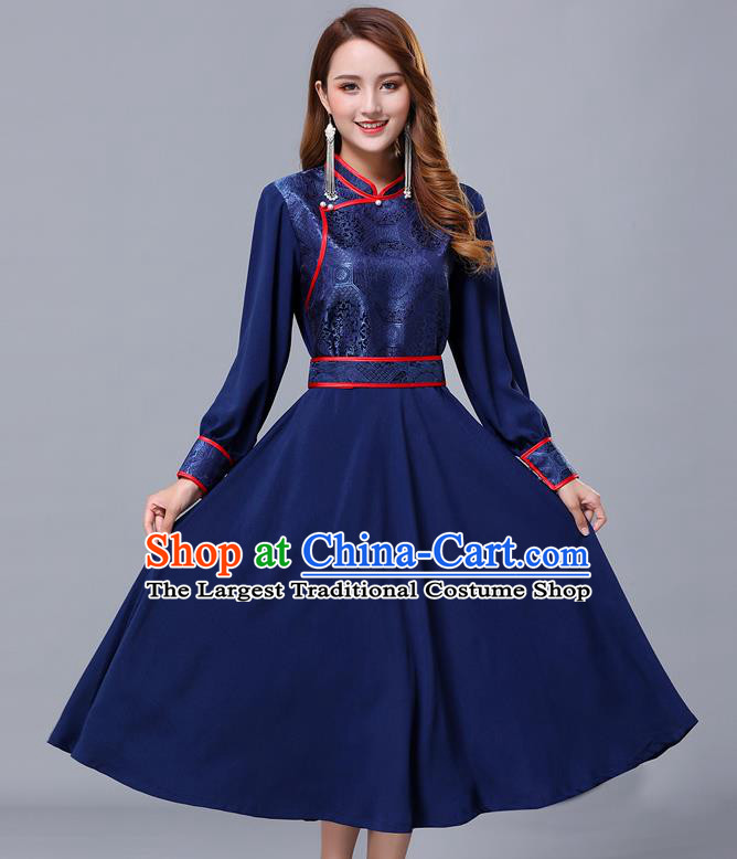 Chinese Traditional Mongolian Nationality Navy Dress Minority Garment Mongol Ethnic Stand Collar Costume for Women