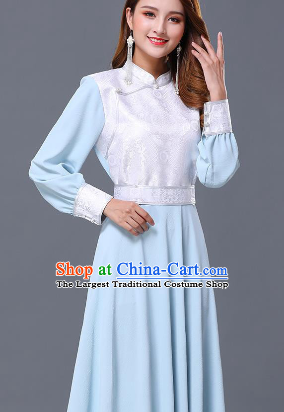 Chinese Traditional Mongolian Nationality Light Blue Dress Minority Garment Mongol Ethnic Stand Collar Costume for Women