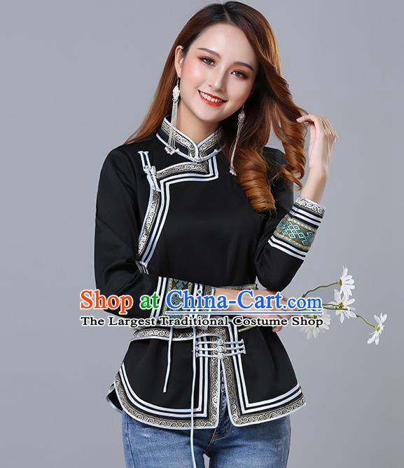 Chinese Traditional Black Satin Blouse Mongol Ethnic Nationality Costume Mongolian Minority Upper Outer Garment for Women