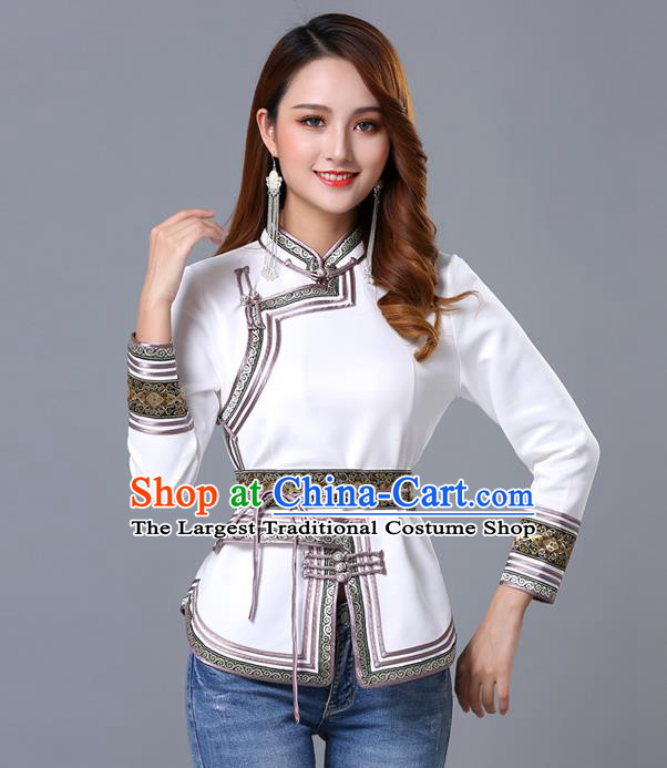 Chinese Traditional White Satin Blouse Mongol Ethnic Nationality Costume Mongolian Minority Upper Outer Garment for Women